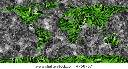world of green dollar bills & silver coins - stock photo