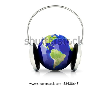 World of music. 3D rendered Illustration. Isolated on white.