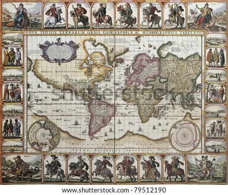 World old map. Created by Nicholas Visscher, published in Amsterdam, 1652 - stock photo