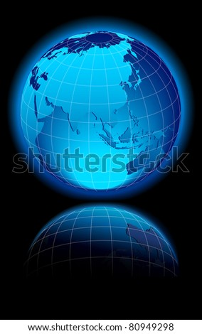 WORLD on a black background China, India, Middle East, Russia and Australia - Raster Version