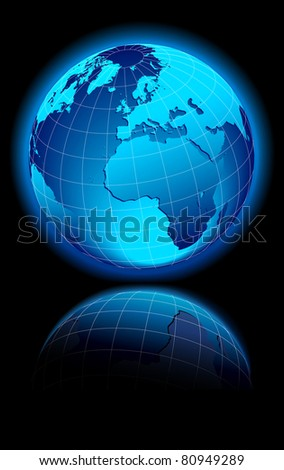 WORLD on a black background Europe, Middle East and Africa - Raster Version - stock photo