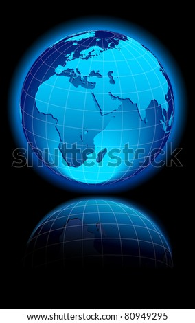 WORLD on a black background Middle East, Africa, Europe and India - Raster Version - stock photo