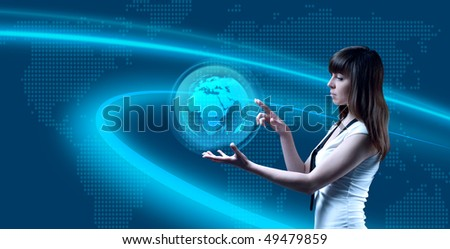 World on her palm (outstanding business people in interiors / interfaces series) - stock photo