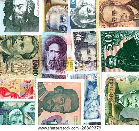 World paper banknotes background.