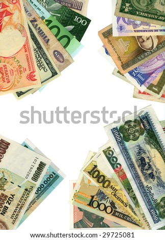 World paper currencies background. Playing poker. - stock photo