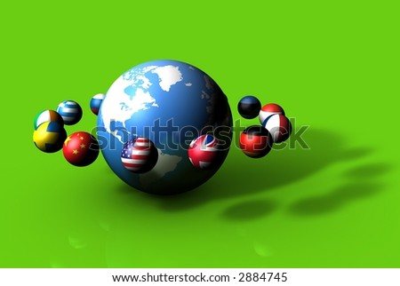 World Planet Flags on Green - stock photo