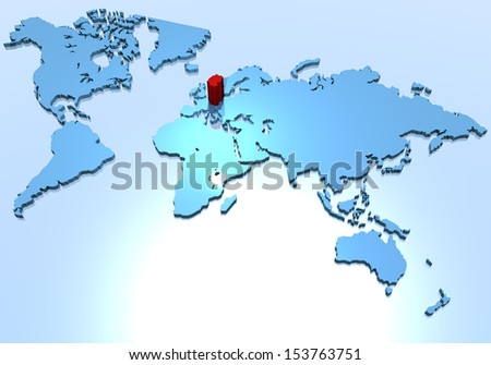 World planisphere Germany - stock photo