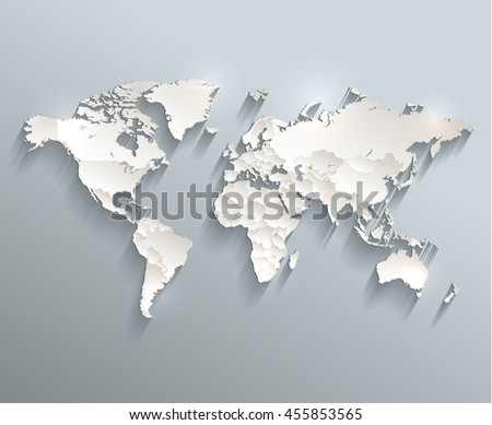 World political map 3D raster individual states separate - stock photo