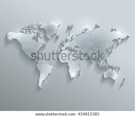World political map glass card paper 3D raster individual states separate - stock photo
