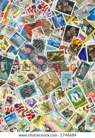 World Postage Stamps - stock photo