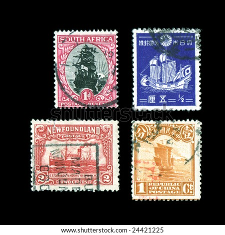 World postage stamps Sailboats and ships isolated on black