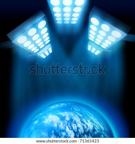 World premiere lights illuminating blue globe on dark background - stock photo