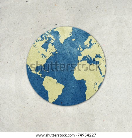 world recycled paper stick on white background . Data source: NASA