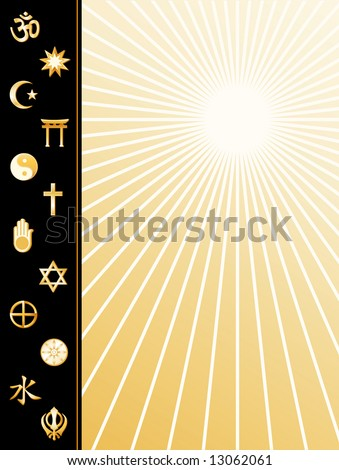 World Religions Poster.  Gold symbols: Hindu, Bahai, Islam, Shinto, Tao, Christian, Jain, Judaism, Native Spirituality, Buddhist, Confucianism, Sikh. Copy space, star burst background. - stock photo