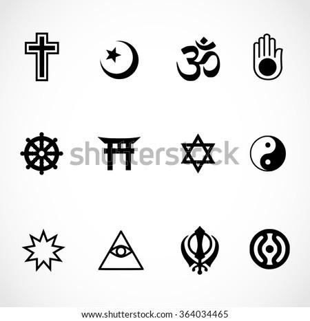 World religions signs icon set - stock photo