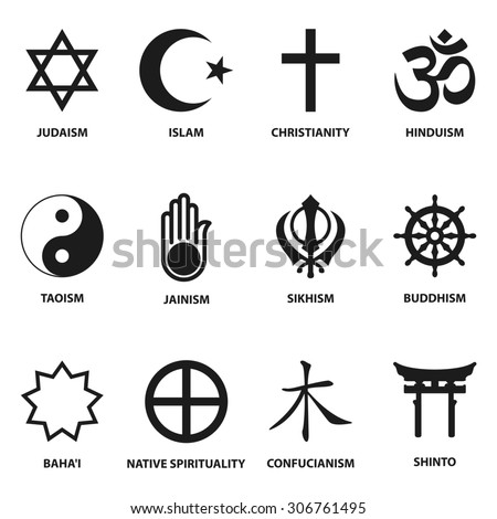world religious sign and symbols collection, isolated on white background - stock photo