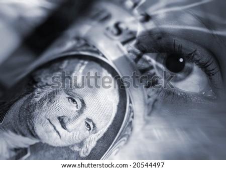 World's eye overlooks US dollar after financial crisis - stock photo