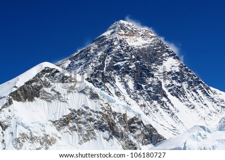 World's highest mountain, Mt Everest (8850m) in the Himalaya, Nepal.