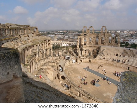 World`s third largest Roman amphitheatre and the best -preserved Roman relic in Africa: El-Jem - stock photo