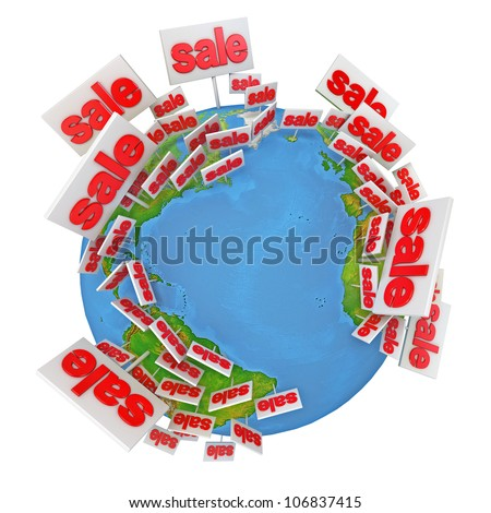 World Sale. International tenders. Buy online. Icon isolated on white background. 3d render - stock photo