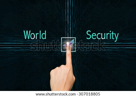 World Security concept with interface and digital background - stock photo