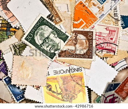 World stamps; communication/mail background theme
