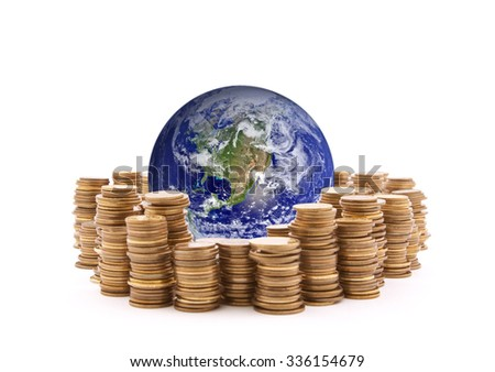 World standing on money. Earth image provided by Nasa.  - stock photo