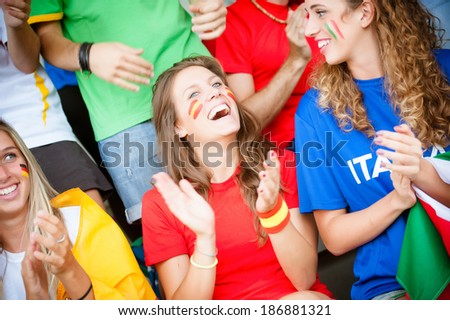 world supporter at the soccer stadium - Stock Image - stock photo