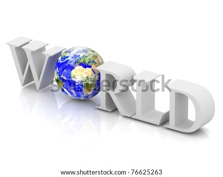World text with globe.