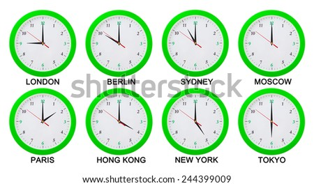 World time zones.  Clocks displaying time in big cities.Isolated on white background - stock photo
