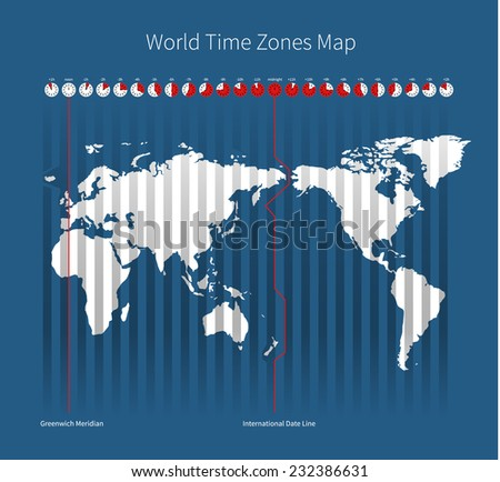World Time Zones Map on blue background - stock photo