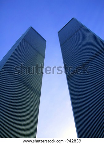 World Trade Center a few months before 9/11, New York. - stock photo