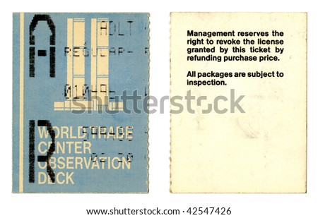 World Trade Center admittance ticket (1996). New York, USA. - stock photo