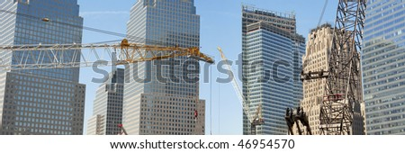 world trade center ground zero construction wtc cranes - stock photo