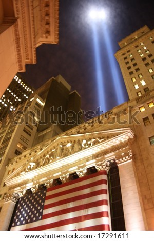"World Trade Center ""Tribute in Light"" as seen from the New York Stock Exchange."