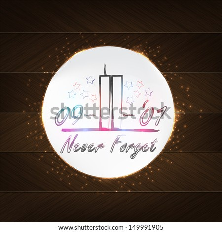 World Trade Center Typography - wood background in retro style with date and label. (Raster) - stock photo