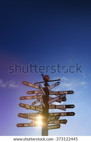 World Traffic signs and directional signpost pointing to famous travel destinations with blue cloudy sky and free copy space for text on the right  - stock photo