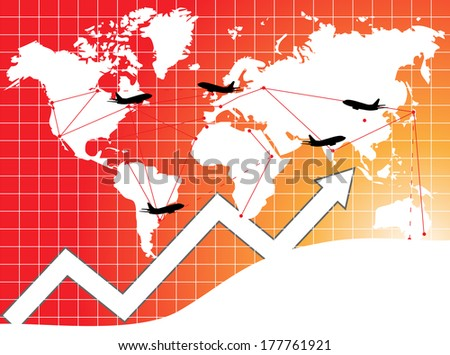 World transport concept with airplanes  - stock photo