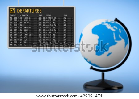 World Travel Concept. Airport Departures Board with Earth Globe on a blue background - stock photo