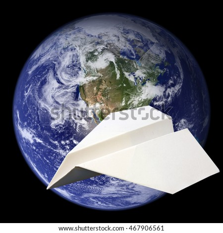 World travel concept - paper plane flying around Planet Earth. Earth image courtesy of NASA.