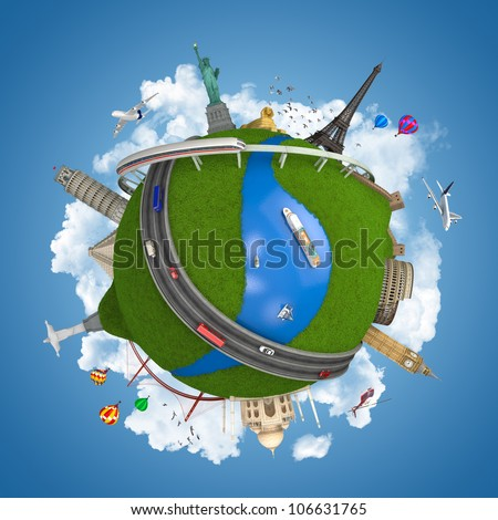 world travel globe concept with landmarks and various transports isolated on white