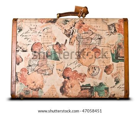 world travelers retro suitcase isolated over white - stock photo