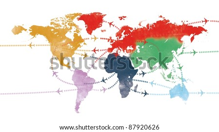 world trip on painted world airline map or flight path travel plans.and routes - stock photo