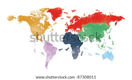 world trip on painted world map and traveler's footprint isolated on white - stock photo