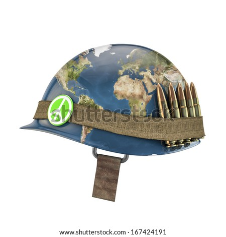 World war and peace helmet, Earth map texture source: cinema4dtutorial.net - stock photo