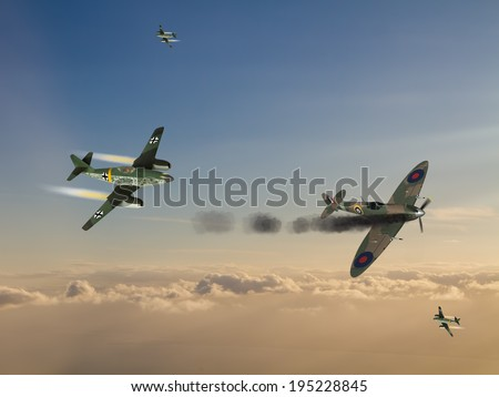 World War 2 German Jet Fighters attacking British fighter plane. (Computer illustration) - stock photo