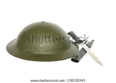 World War I Helmet and Bayonet Isolated on White - stock photo