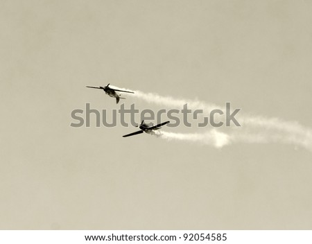 World War II airplanes in a dogfight - stock photo