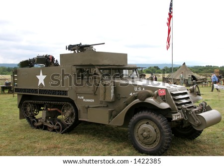 world war ii armored half track - stock photo