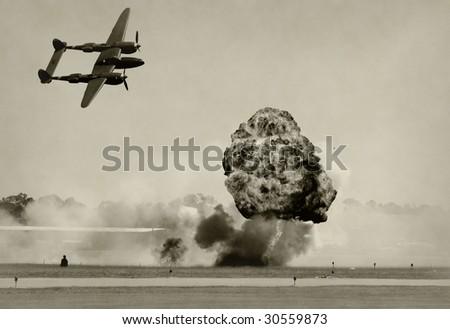 World War II era battle and bombing - stock photo